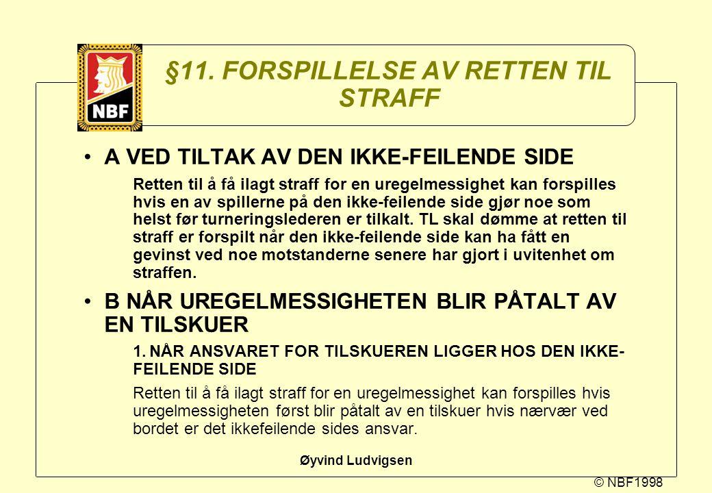 © NBF1998 Øyvind Ludvigsen §11. FORSPILLELSE AV RETTEN TIL STRAFF A VED TILTAK AV DEN IKKE-FEILENDE SIDE Retten til å få ilagt straff for en uregelmes