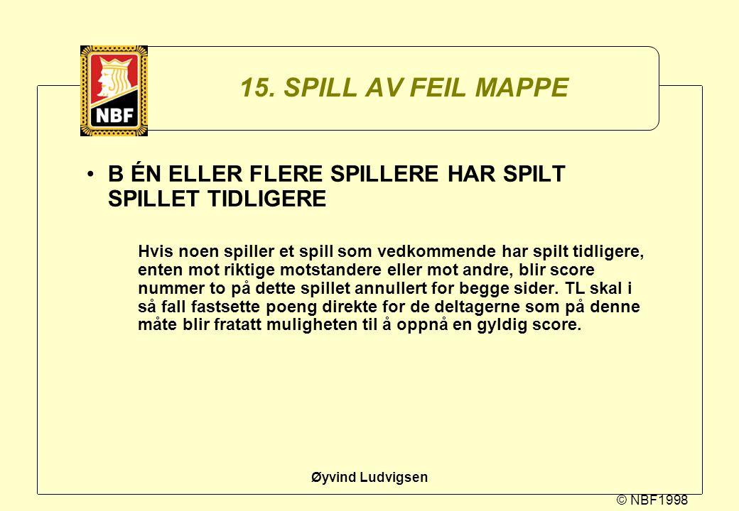 © NBF1998 Øyvind Ludvigsen 15. SPILL AV FEIL MAPPE B ÉN ELLER FLERE SPILLERE HAR SPILT SPILLET TIDLIGERE Hvis noen spiller et spill som vedkommende ha
