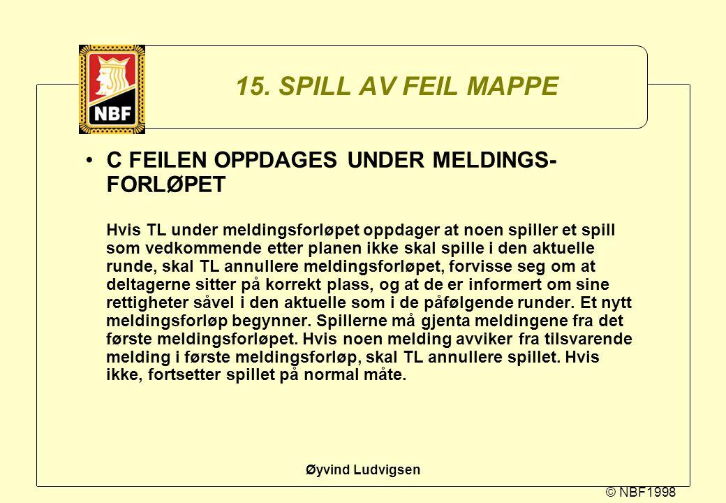 © NBF1998 Øyvind Ludvigsen 15. SPILL AV FEIL MAPPE C FEILEN OPPDAGES UNDER MELDINGS- FORLØPET Hvis TL under meldingsforløpet oppdager at noen spiller