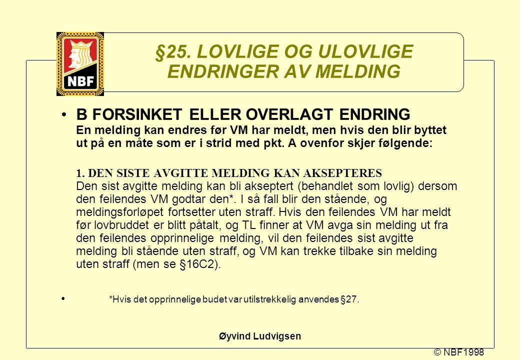 © NBF1998 Øyvind Ludvigsen §25. LOVLIGE OG ULOVLIGE ENDRINGER AV MELDING B FORSINKET ELLER OVERLAGT ENDRING En melding kan endres før VM har meldt, me