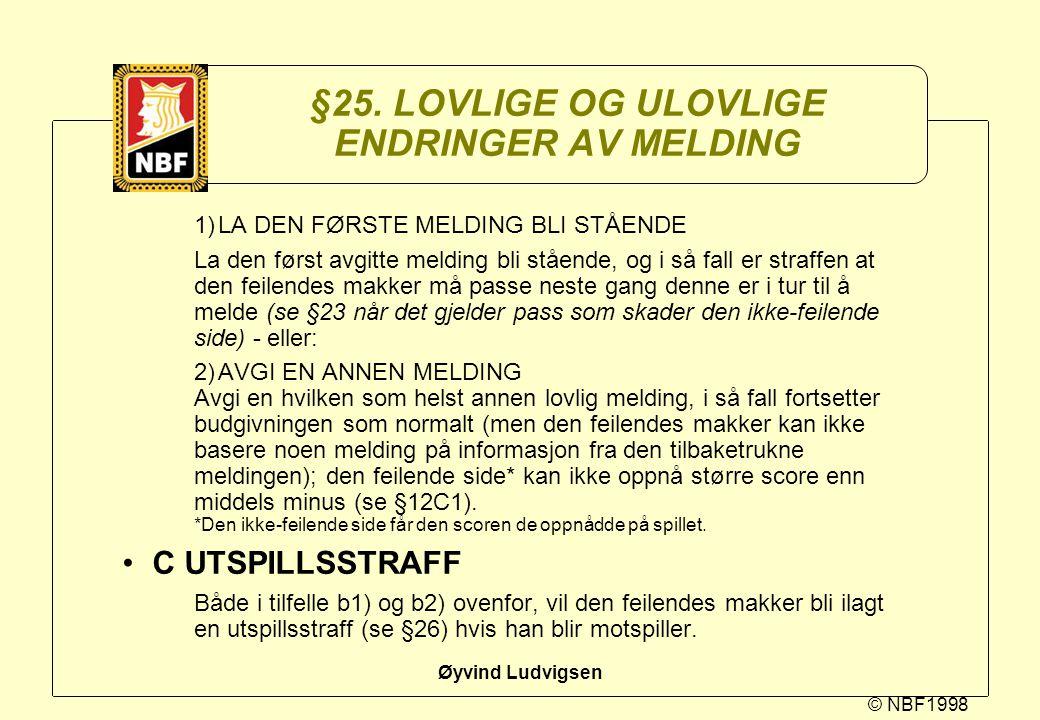 © NBF1998 Øyvind Ludvigsen §25. LOVLIGE OG ULOVLIGE ENDRINGER AV MELDING 1)LA DEN FØRSTE MELDING BLI STÅENDE La den først avgitte melding bli stående,