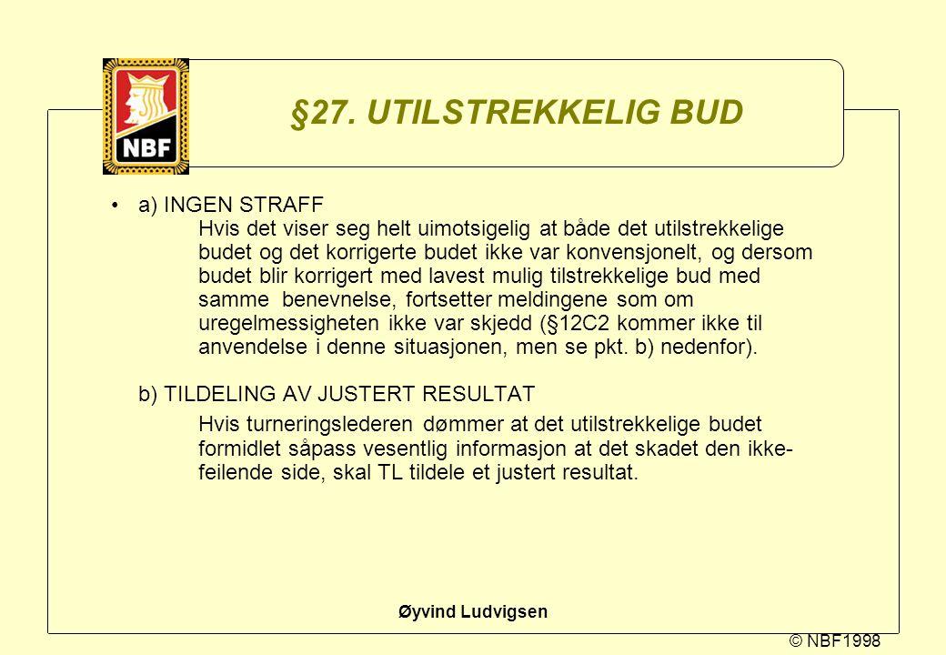 © NBF1998 Øyvind Ludvigsen §27. UTILSTREKKELIG BUD a) INGEN STRAFF Hvis det viser seg helt uimotsigelig at både det utilstrekkelige budet og det korri