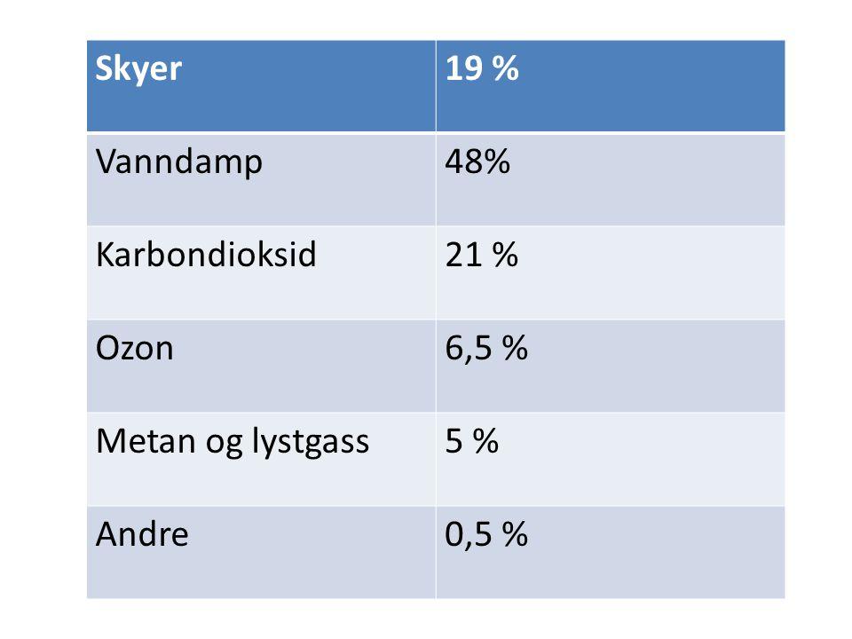 Skyer19 % Vanndamp48% Karbondioksid21 % Ozon6,5 % Metan og lystgass5 % Andre0,5 %