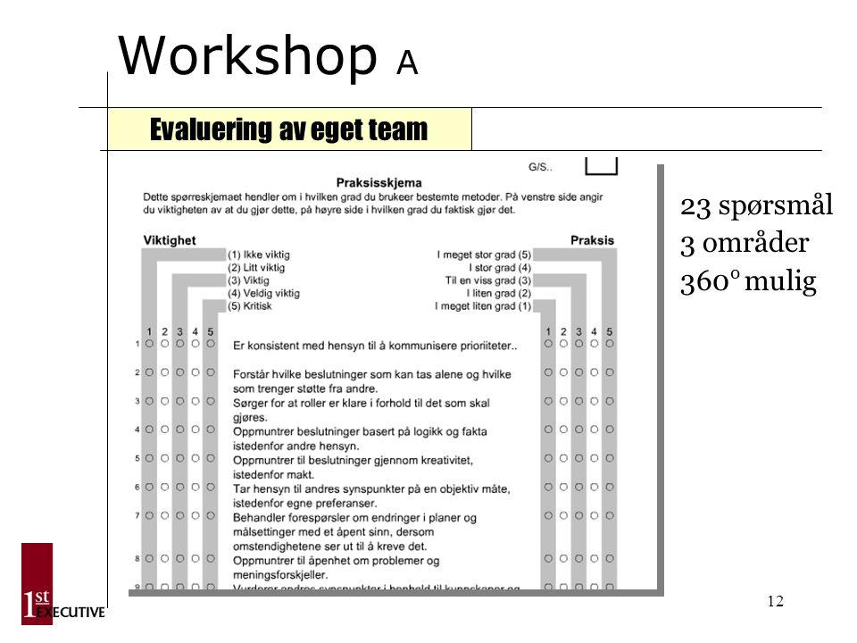 12 Workshop A Evaluering av eget team 23 spørsmål 3 områder 360 o mulig