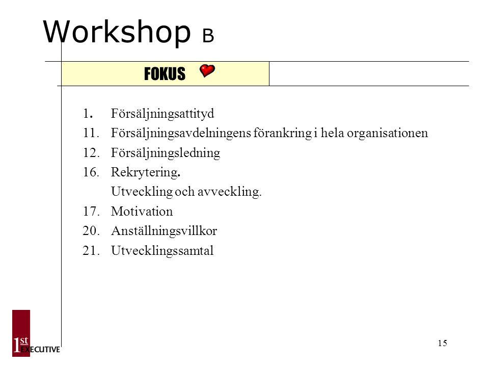 15 Workshop B FOKUS 1. Försäljningsattityd 11.
