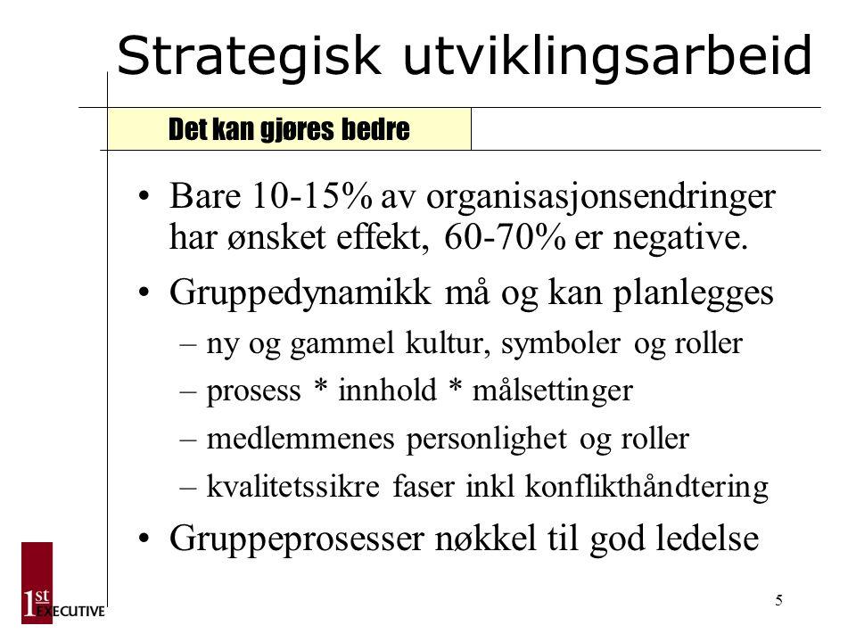 5 Strategisk utviklingsarbeid Bare 10-15% av organisasjonsendringer har ønsket effekt, 60-70% er negative.