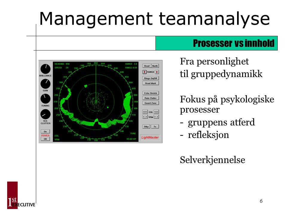 6 Management teamanalyse Fra personlighet til gruppedynamikk Fokus på psykologiske prosesser - gruppens atferd - refleksjon Selverkjennelse Prosesser vs innhold