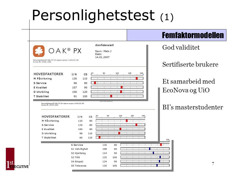 7 Personlighetstest (1) Femfaktormodellen God validitet Sertifiserte brukere Et samarbeid med EcoNova og UiO BI's masterstudenter