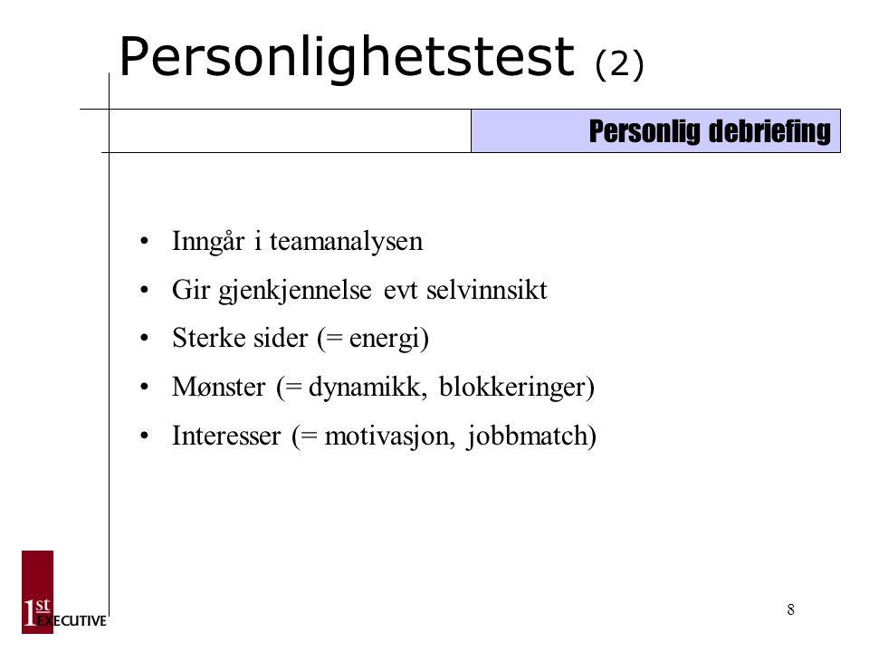 8 Personlighetstest (2) Inngår i teamanalysen Gir gjenkjennelse evt selvinnsikt Sterke sider (= energi) Mønster (= dynamikk, blokkeringer) Interesser (= motivasjon, jobbmatch) Personlig debriefing
