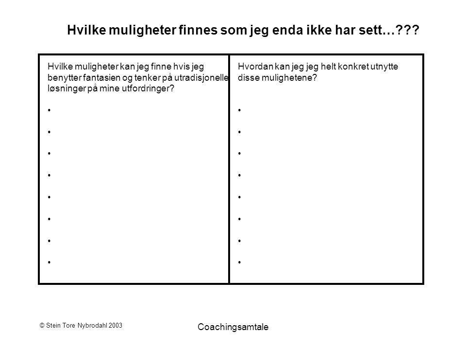 © Stein Tore Nybrodahl 2003 Coachingsamtale Hvilke muligheter finnes som jeg enda ikke har sett…??? Hvilke muligheter kan jeg finne hvis jeg benytter