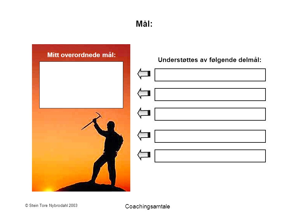 © Stein Tore Nybrodahl 2003 Coachingsamtale Mål: Mitt overordnede mål: Understøttes av følgende delmål: