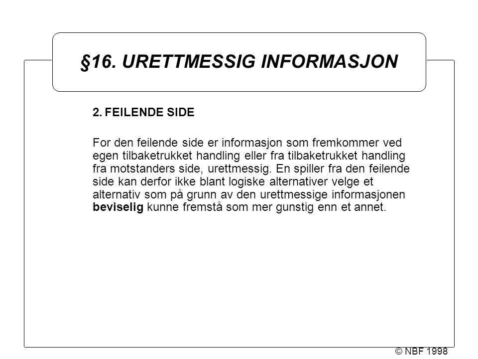 © NBF 1998 §16. URETTMESSIG INFORMASJON 2.FEILENDE SIDE For den feilende side er informasjon som fremkommer ved egen tilbaketrukket handling eller fra