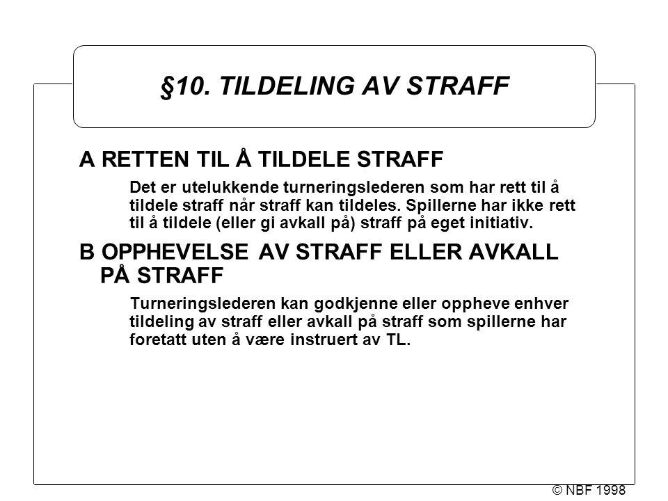 © NBF 1998 §10. TILDELING AV STRAFF A RETTEN TIL Å TILDELE STRAFF Det er utelukkende turneringslederen som har rett til å tildele straff når straff ka