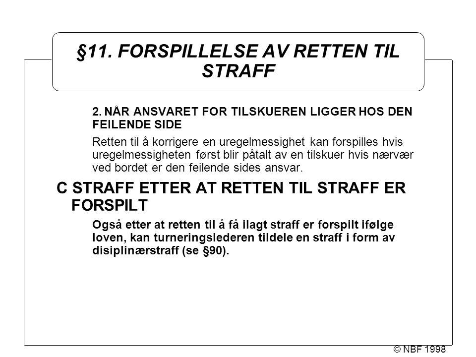 © NBF 1998 §11. FORSPILLELSE AV RETTEN TIL STRAFF 2.NÅR ANSVARET FOR TILSKUEREN LIGGER HOS DEN FEILENDE SIDE Retten til å korrigere en uregelmessighet