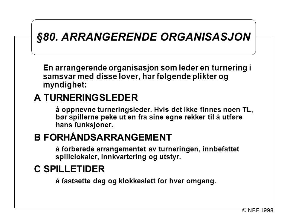 © NBF 1998 §80. ARRANGERENDE ORGANISASJON En arrangerende organisasjon som leder en turnering i samsvar med disse lover, har følgende plikter og myndi