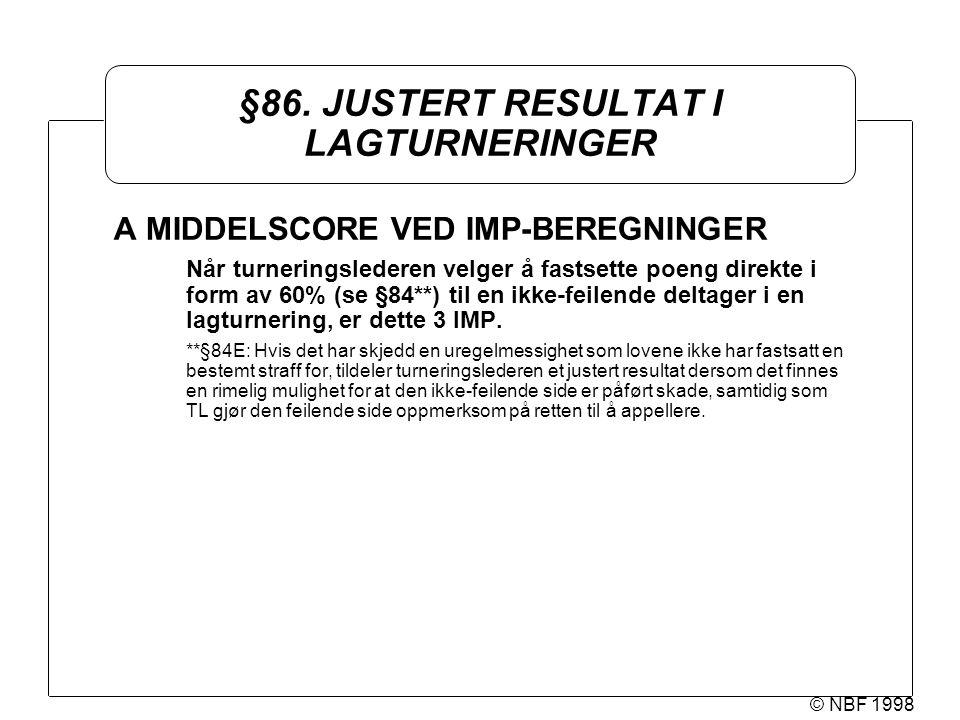 © NBF 1998 §86. JUSTERT RESULTAT I LAGTURNERINGER A MIDDELSCORE VED IMP-BEREGNINGER Når turneringslederen velger å fastsette poeng direkte i form av 6