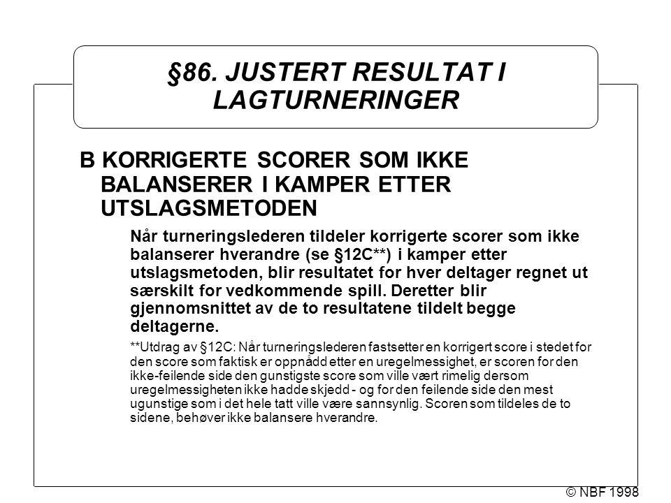 © NBF 1998 §86. JUSTERT RESULTAT I LAGTURNERINGER B KORRIGERTE SCORER SOM IKKE BALANSERER I KAMPER ETTER UTSLAGSMETODEN Når turneringslederen tildeler