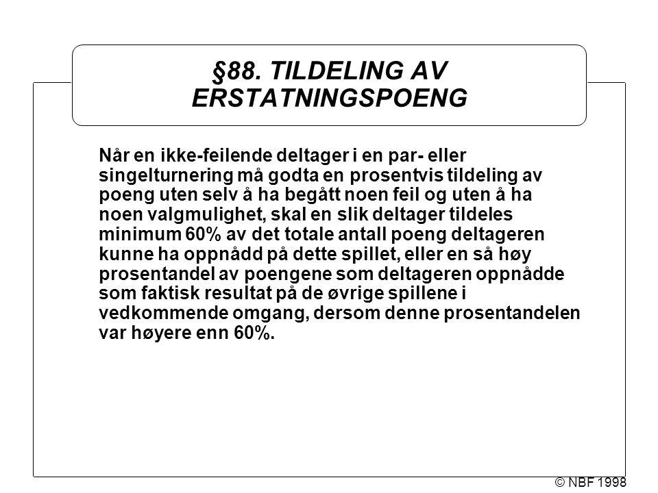 © NBF 1998 §88. TILDELING AV ERSTATNINGSPOENG Når en ikke-feilende deltager i en par- eller singelturnering må godta en prosentvis tildeling av poeng