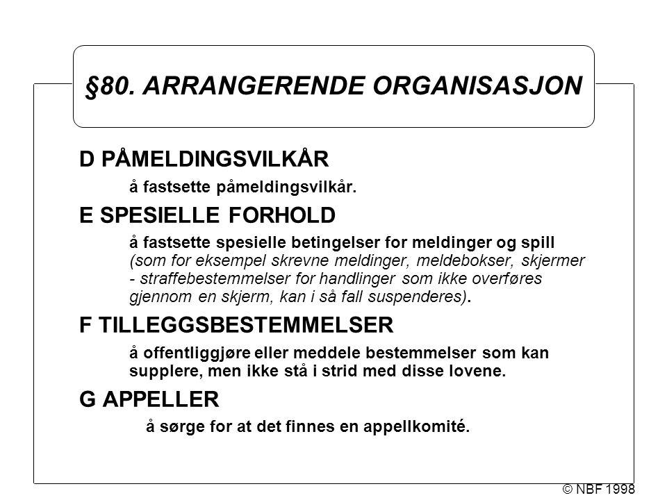 © NBF 1998 §80.ARRANGERENDE ORGANISASJON D PÅMELDINGSVILKÅR å fastsette påmeldingsvilkår.