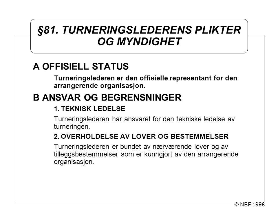 © NBF 1998 §81. TURNERINGSLEDERENS PLIKTER OG MYNDIGHET A OFFISIELL STATUS Turneringslederen er den offisielle representant for den arrangerende organ