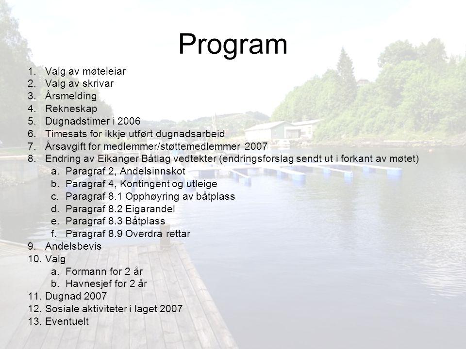 Forslag til sosiale aktiviteter 2007 Felles tur - én dags tur eller helgetur Grilling i båthavnen, gjerne i samarbeid med en dugnad.