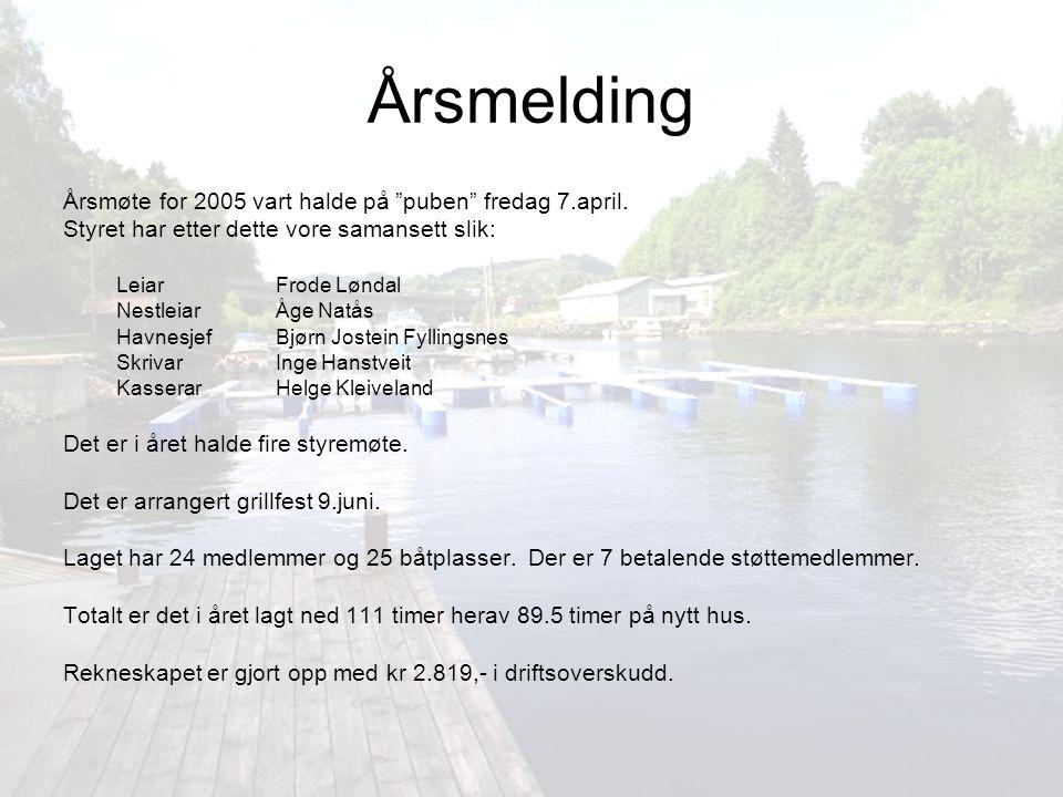 """Årsmelding Årsmøte for 2005 vart halde på """"puben"""" fredag 7.april. Styret har etter dette vore samansett slik: LeiarFrode Løndal NestleiarÅge Natås Hav"""