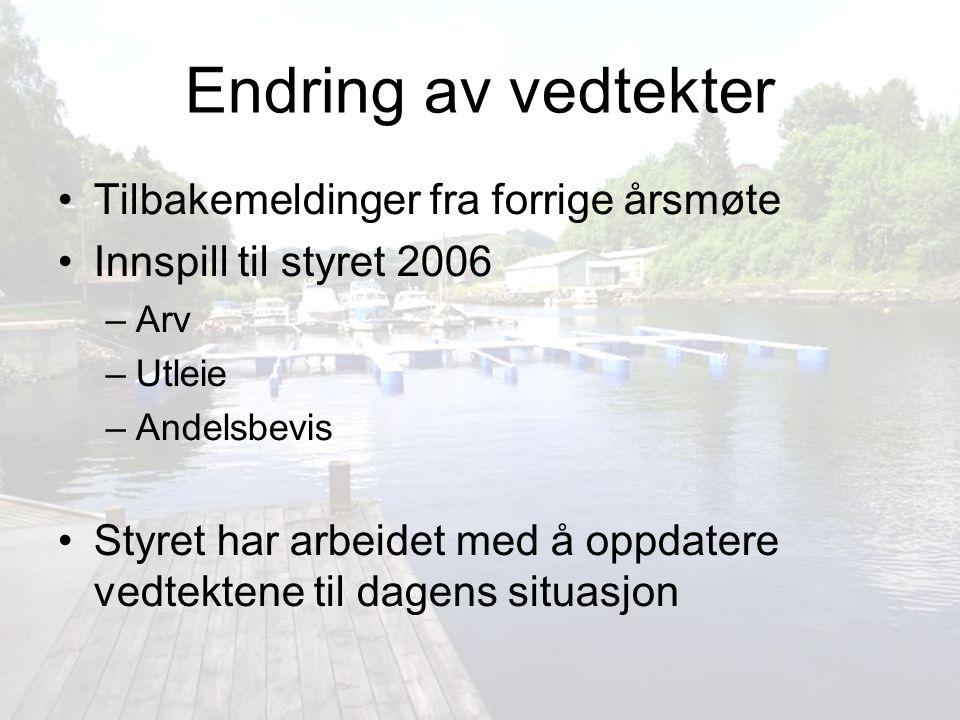 Endringer vedtekter Paragraf 1 - Føremål Føremålet med Eikanger Båtlag er å samla interesserte båteigarar for i fellesskap å arbeida for båt- og sams interesser.