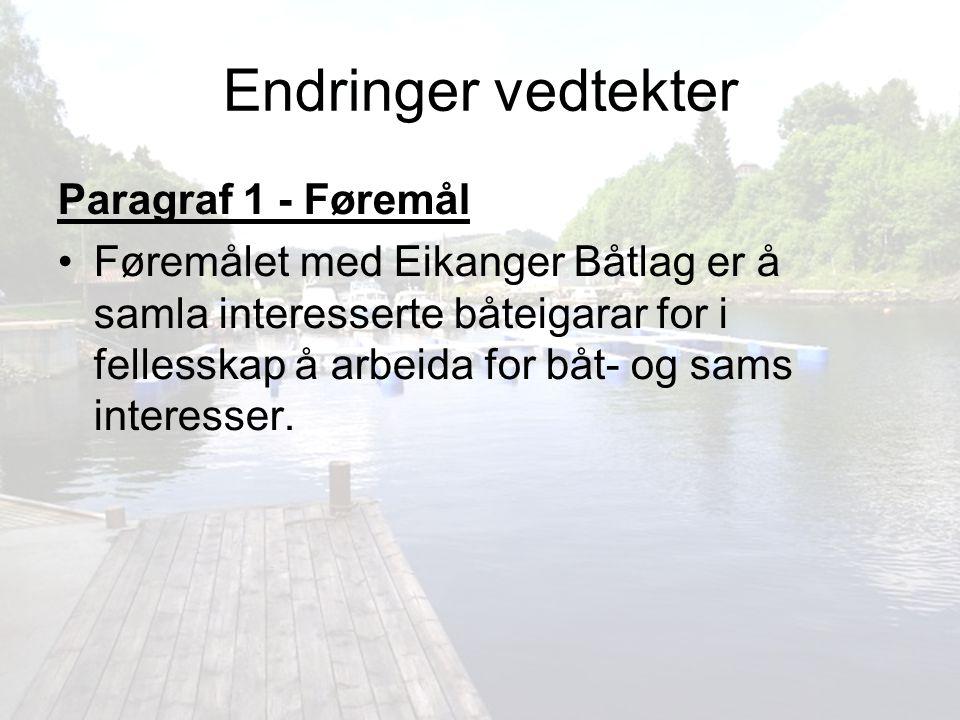 Endringer vedtekter Paragraf 1 - Føremål Føremålet med Eikanger Båtlag er å samla interesserte båteigarar for i fellesskap å arbeida for båt- og sams