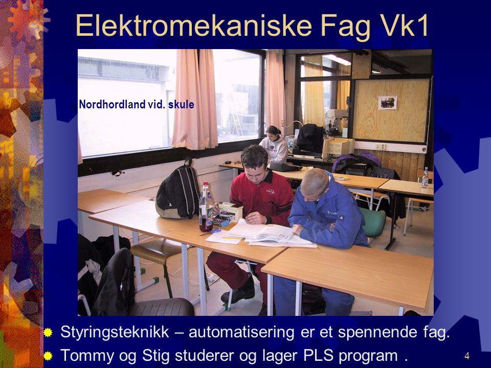3 Elektromekaniske Fag Vk1 FFerdigheter i dreiebenken er viktig for en industrimekaniker. HHer dreier Henrik emne til ny vuggearm på en slåmaskin.