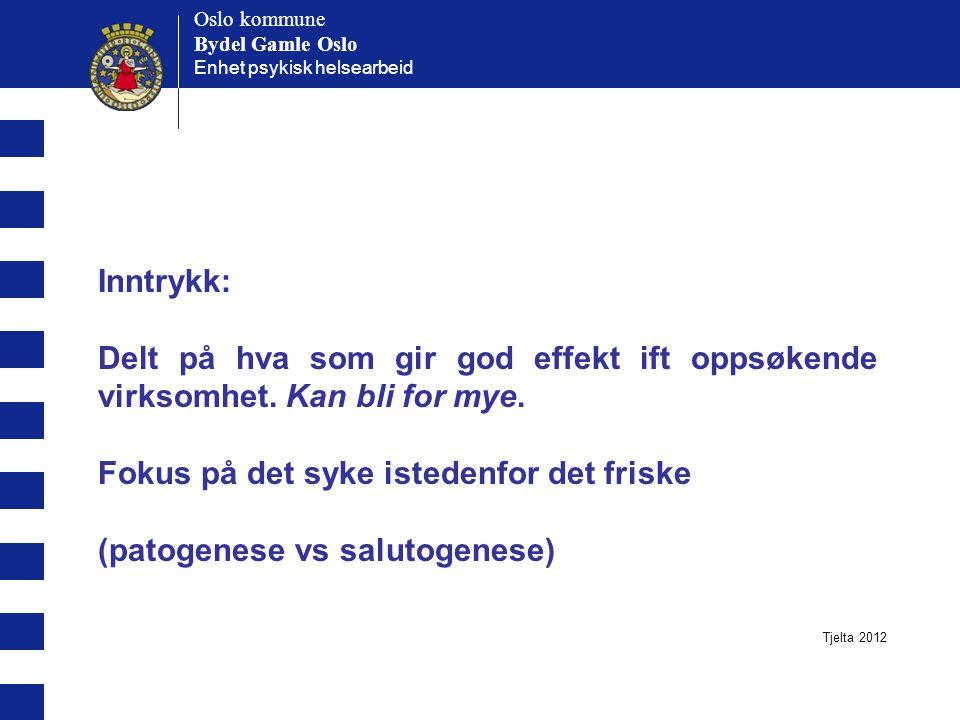 Oslo kommune Bydel Gamle Oslo Oslo kommune Bydel Gamle Oslo Enhet psykisk helsearbeid Inntrykk: Delt på hva som gir god effekt ift oppsøkende virksomhet.