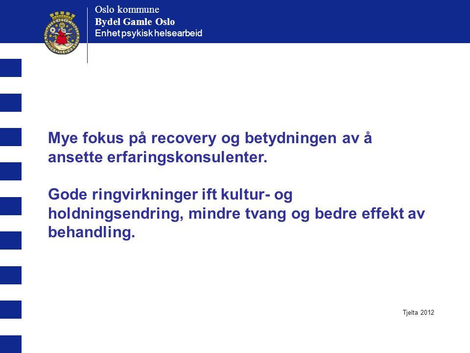Oslo kommune Bydel Gamle Oslo Oslo kommune Bydel Gamle Oslo Enhet psykisk helsearbeid Mye fokus på recovery og betydningen av å ansette erfaringskonsulenter.