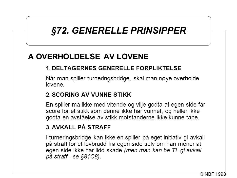 © NBF 1998 §72. GENERELLE PRINSIPPER A OVERHOLDELSE AV LOVENE 1.DELTAGERNES GENERELLE FORPLIKTELSE Når man spiller turneringsbridge, skal man nøye ove