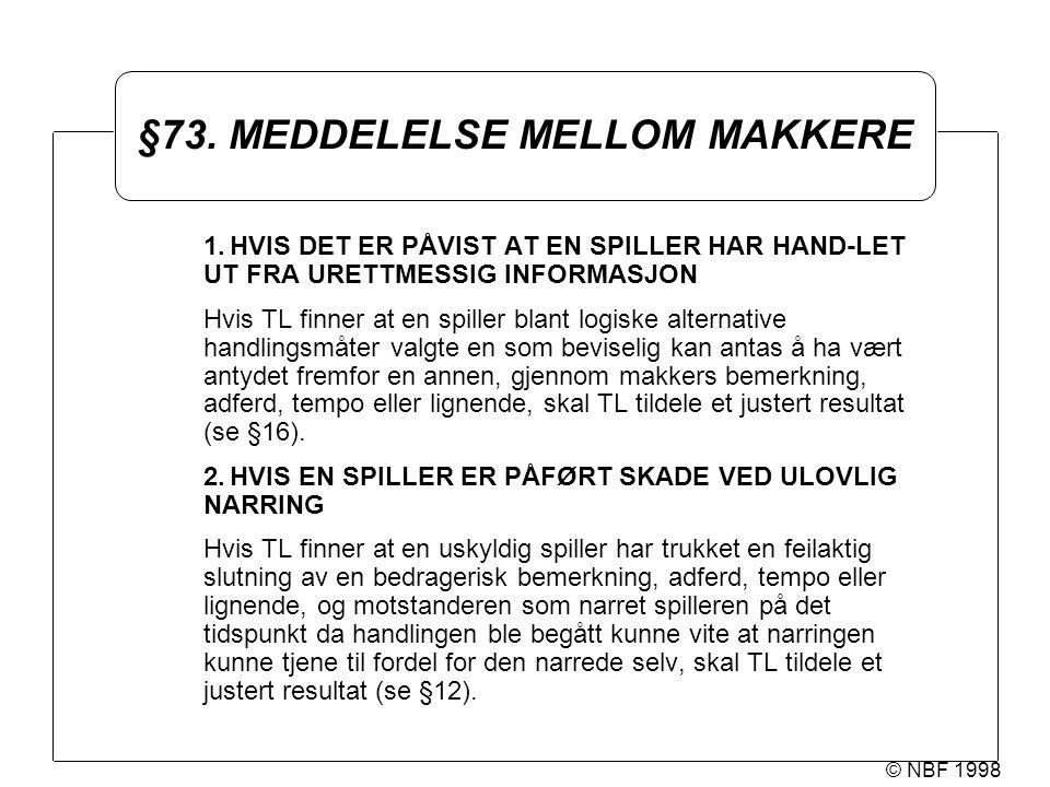 © NBF 1998 §73. MEDDELELSE MELLOM MAKKERE 1.HVIS DET ER PÅVIST AT EN SPILLER HAR HAND-LET UT FRA URETTMESSIG INFORMASJON Hvis TL finner at en spiller