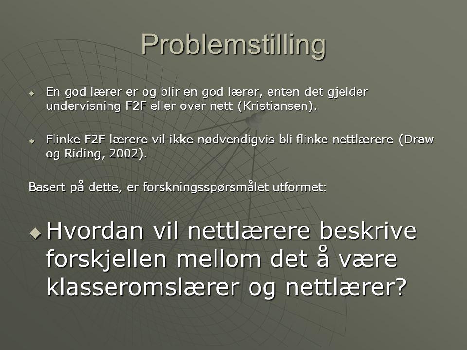 Problemstilling  En god lærer er og blir en god lærer, enten det gjelder undervisning F2F eller over nett (Kristiansen).  Flinke F2F lærere vil ikke
