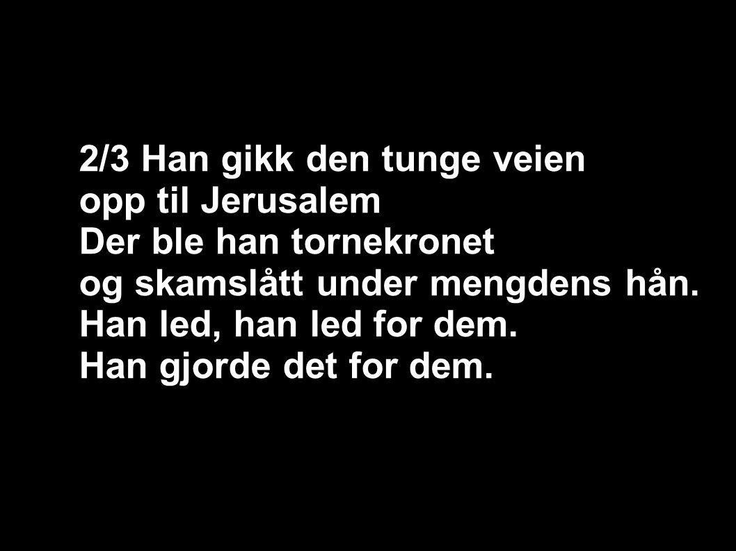2/3 Han gikk den tunge veien opp til Jerusalem Der ble han tornekronet og skamslått under mengdens hån.