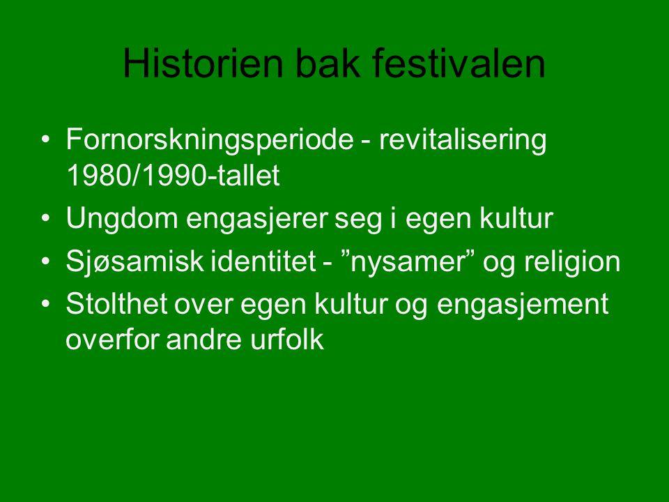 Historien bak festivalen Fornorskningsperiode - revitalisering 1980/1990-tallet Ungdom engasjerer seg i egen kultur Sjøsamisk identitet - nysamer og religion Stolthet over egen kultur og engasjement overfor andre urfolk