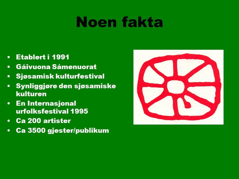 Noen fakta Etablert i 1991 Gáivuona Sámenuorat Sjøsamisk kulturfestival Synliggjøre den sjøsamiske kulturen En Internasjonal urfolksfestival 1995 Ca 200 artister Ca 3500 gjester/publikum