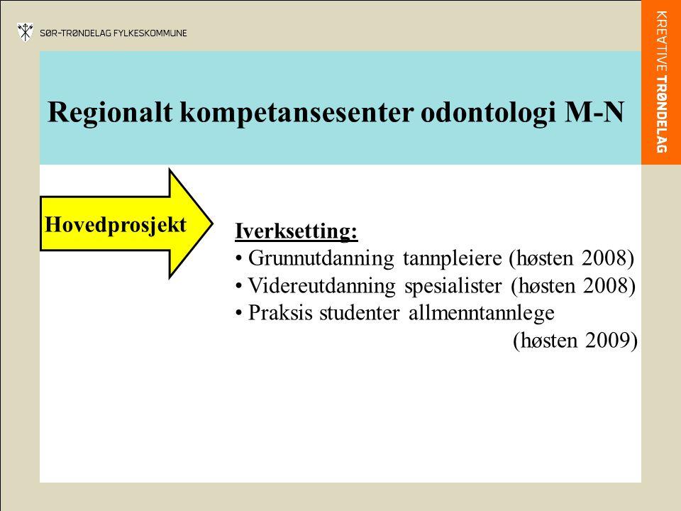 Regionalt kompetansesenter odontologi M-N Hovedprosjekt Iverksetting: Grunnutdanning tannpleiere (høsten 2008) Videreutdanning spesialister (høsten 2008) Praksis studenter allmenntannlege (høsten 2009)