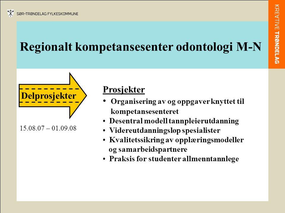 Regionalt kompetansesenter odontologi M-N Delprosjekter Prosjekter Organisering av og oppgaver knyttet til kompetansesenteret Desentral modell tannpleierutdanning Videreutdanningsløp spesialister Kvalitetssikring av opplæringsmodeller og samarbeidspartnere Praksis for studenter allmenntannlege 15.08.07 – 01.09.08