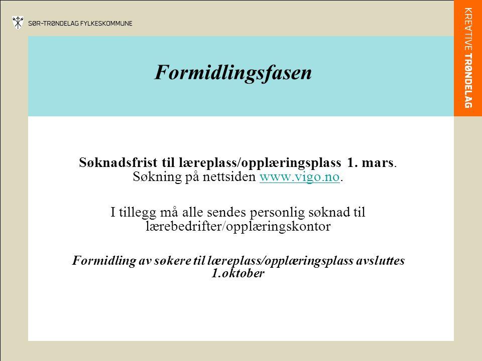Formidlingsfasen Søknadsfrist til læreplass/opplæringsplass 1.
