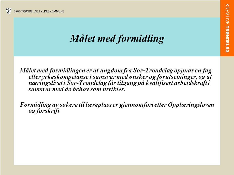 Målet med formidling Målet med formidlingen er at ungdom fra Sør-Trøndelag oppnår en fag eller yrkeskompetanse i samsvar med ønsker og forutsetninger, og at næringslivet i Sør-Trøndelag får tilgang på kvalifisert arbeidskraft i samsvar med de behov som utvikles.
