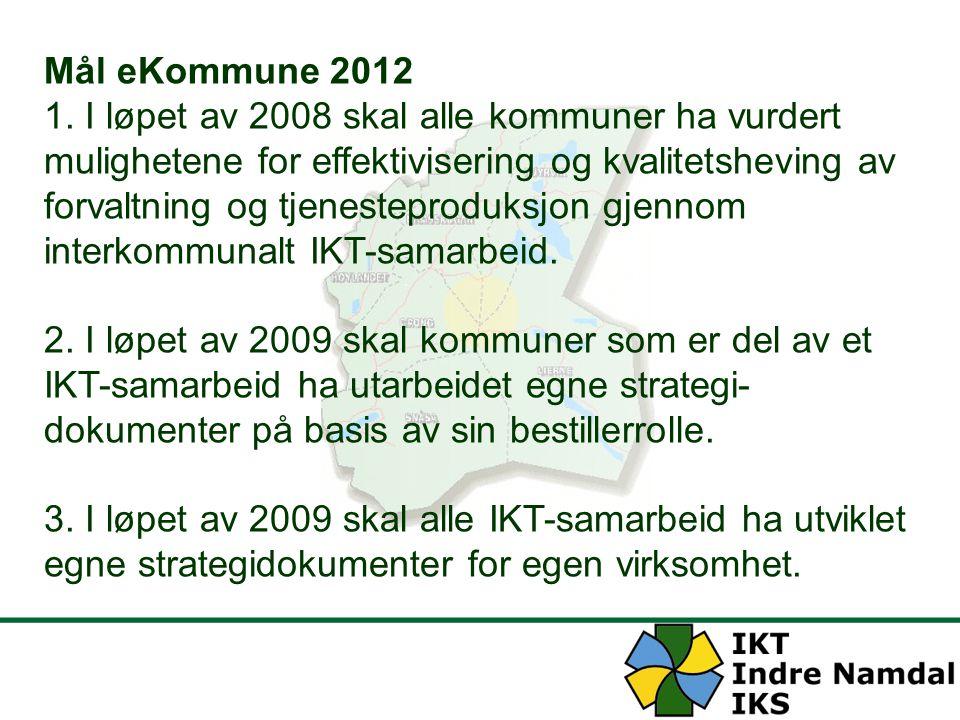 Mål eKommune 2012 1. I løpet av 2008 skal alle kommuner ha vurdert mulighetene for effektivisering og kvalitetsheving av forvaltning og tjenesteprodu