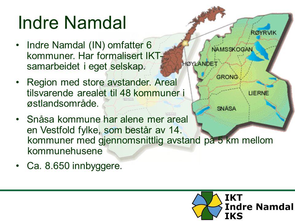 Indre Namdal Region med store avstander. Areal tilsvarende arealet til 48 kommuner i østlandsområde. Indre Namdal (IN) omfatter 6 kommuner. Har formal