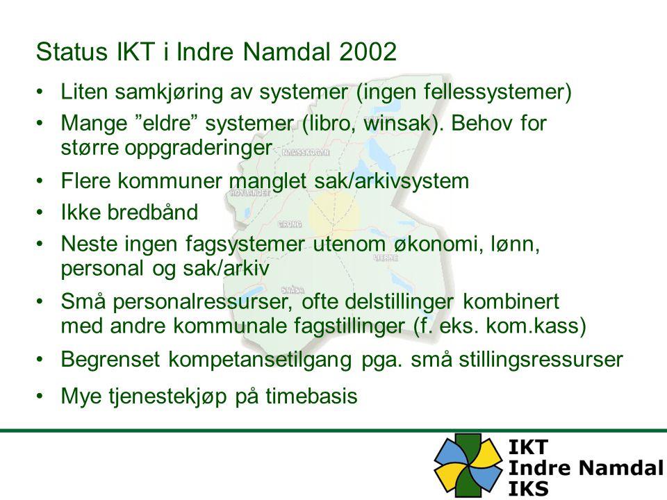 """Status IKT i Indre Namdal 2002 Liten samkjøring av systemer (ingen fellessystemer) Mange """"eldre"""" systemer (libro, winsak). Behov for større oppgraderi"""