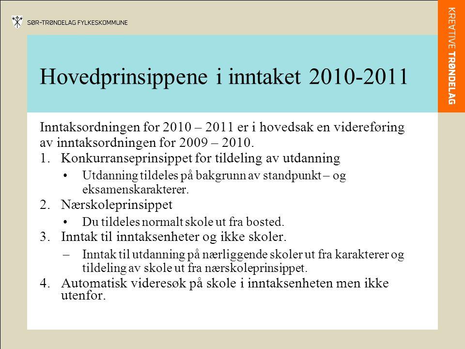 Hovedprinsippene i inntaket 2010-2011 Inntaksordningen for 2010 – 2011 er i hovedsak en videreføring av inntaksordningen for 2009 – 2010. 1.Konkurrans