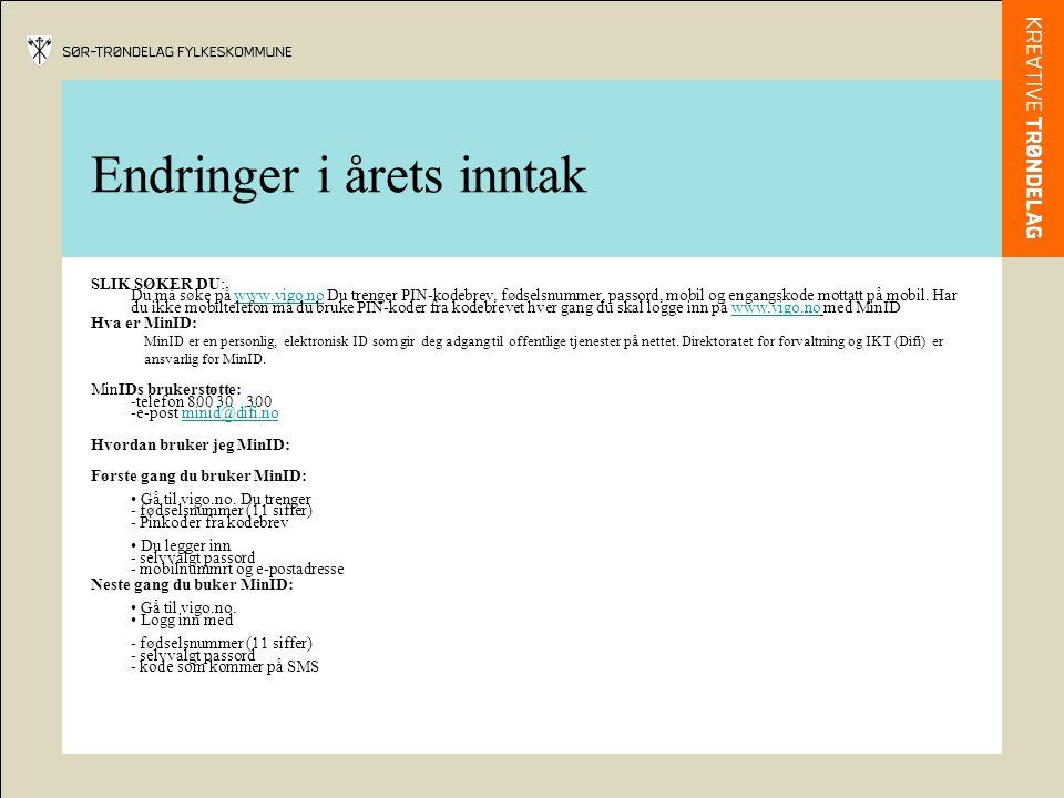 Endringer i årets inntak SLIK SØKER DU: Du må søke på www.vigo.no Du trenger PIN-kodebrev, fødselsnummer, passord, mobil og engangskode mottatt på mob
