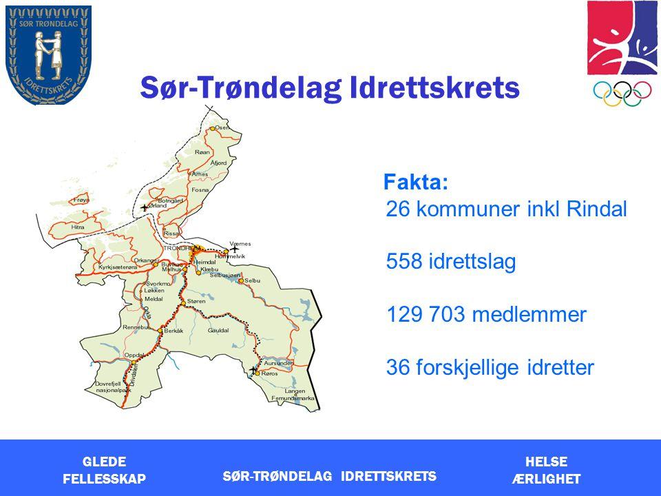 GLEDE FELLESSKAP HELSE ÆRLIGHET SØR-TRØNDELAG IDRETTSKRETS Sør-Trøndelag Idrettskrets Fakta: 26 kommuner inkl Rindal 558 idrettslag 129 703 medlemmer