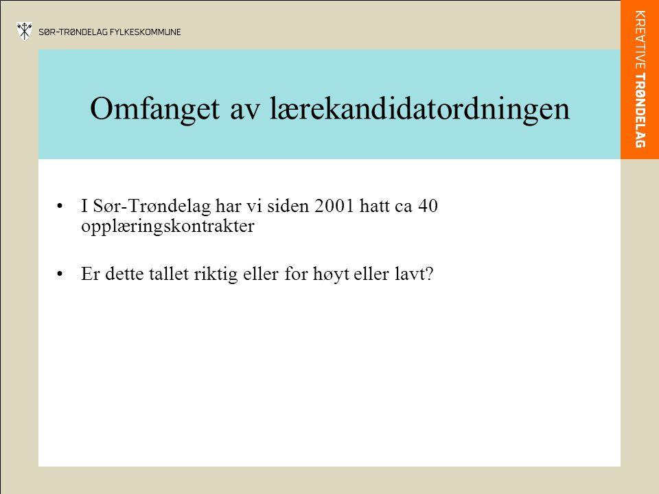 Omfanget av lærekandidatordningen I Sør-Trøndelag har vi siden 2001 hatt ca 40 opplæringskontrakter Er dette tallet riktig eller for høyt eller lavt?