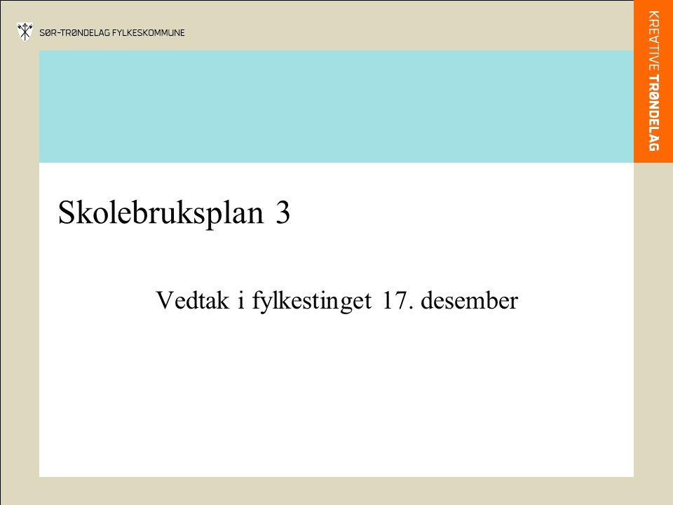 Skolebruksplan 3 Vedtak i fylkestinget 17. desember