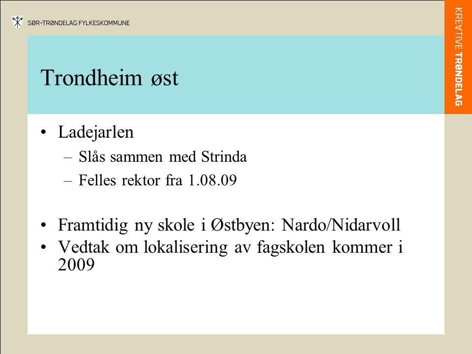 Trondheim øst Ladejarlen –Slås sammen med Strinda –Felles rektor fra 1.08.09 Framtidig ny skole i Østbyen: Nardo/Nidarvoll Vedtak om lokalisering av fagskolen kommer i 2009